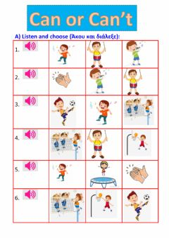 Interactive worksheet Verb Can