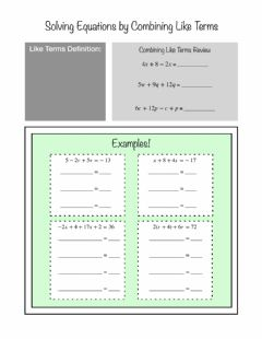 Ficha interactiva Solving Equations by Combining Like Terms Notes