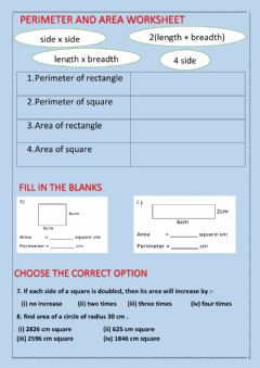Interactive worksheet Perimeter and area