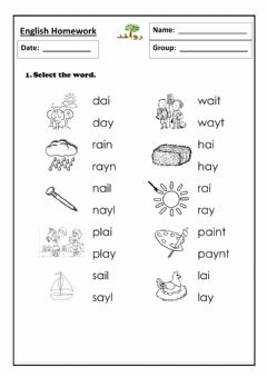 Interactive worksheet Lesson 55 - ay sound