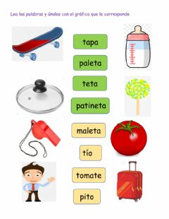 Interactive worksheet Palabras con t T