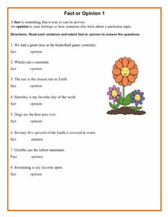 Interactive worksheet Fact and Opinion 1