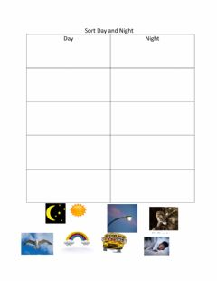 Interactive worksheet Day and Night Sort