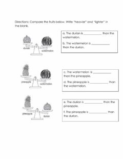 Interactive worksheet Comparing masses of 2 objects
