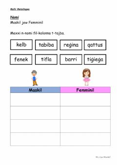 Interactive worksheet Maskil Femminil