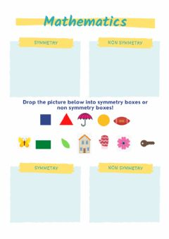 Interactive worksheet Symmetrical shapes and non symmetrical shapes