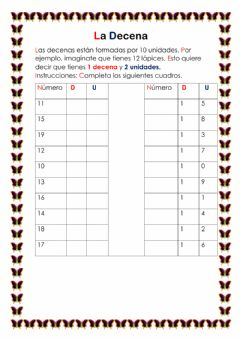 Interactive worksheet La decena