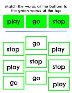 Interactive worksheet Match Sight Words: go, play, stop