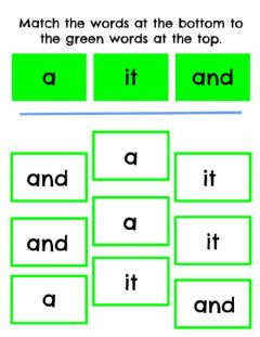 Interactive worksheet Match Sight Words - a, it, and