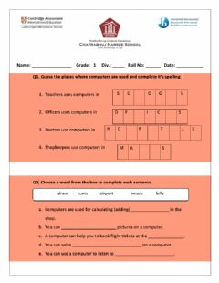 Interactive worksheet Uses of a computer