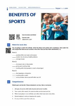 Interactive worksheet Benefits of Sports (linguahouse.com)