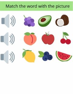 Ficha interactiva Listening fruit