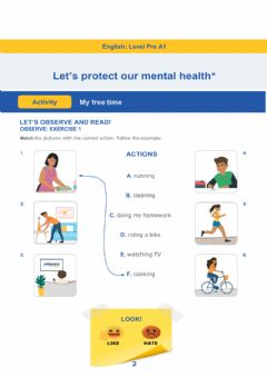 Ficha interactiva Let's protect our mental health