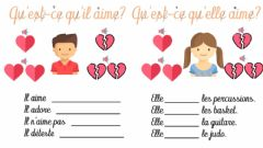 Interactive worksheet Il aime - elle aime