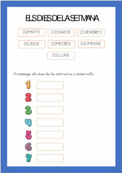 Interactive worksheet Dies de la setmana
