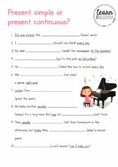 Interactive worksheet Present simple or present continuous?
