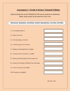 Interactive worksheet The seven life processes