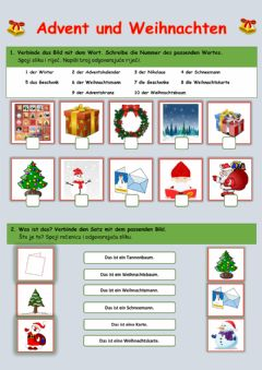 Interactive worksheet Advent und Weihnachten