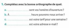 Interactive worksheet L'adjectif interrogatif -quel-