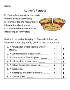 Interactive worksheet Identify the purpose of a text