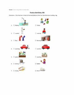 Interactive worksheet Practice Identifying the Inflectional Ending -ing w visual supports