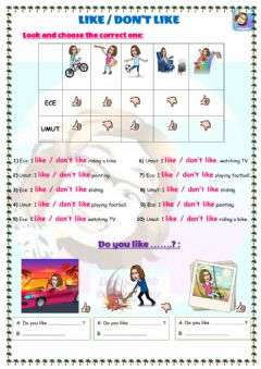 Interactive worksheet Grade 4-Unit 4-Free time activities-Like-don't like