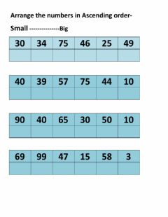 Interactive worksheet ascending order