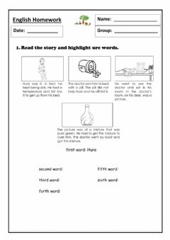 Interactive worksheet Lesson 54 - ure sound