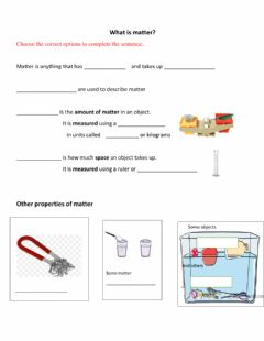 Interactive worksheet Matter introduction simple