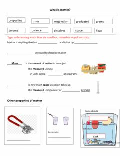 Interactive worksheet Matter introduction typing