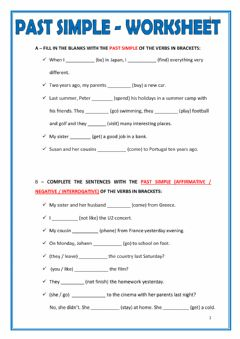 Interactive worksheet Simple Past Tense