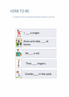 Interactive worksheet Verb to be 3rd grade