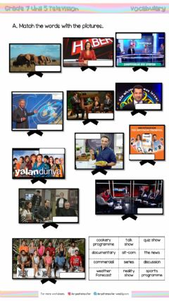 Interactive worksheet 7.5. Television