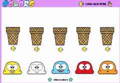 Interactive worksheet Ice Cream Colors (Listen and drag)