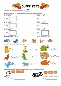 Interactive worksheet Super pets