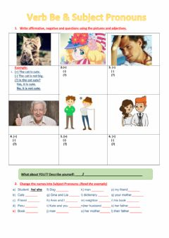 Interactive worksheet Verb be subject Pronouns and adjectives