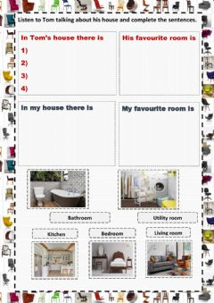 Interactive worksheet Rooms in a house