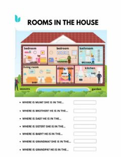 Ficha interactiva Rooms and family