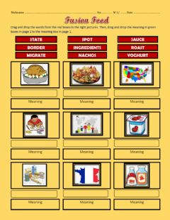 Interactive worksheet FUSION FOODS - M1