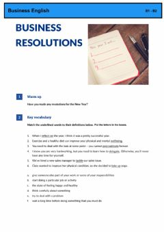 Interactive worksheet Business Resolutions- Business English