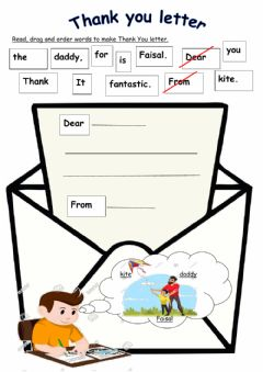 Interactive worksheet Thank you letter