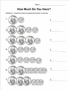 Interactive worksheet How Much Do You Have? (Quarters and Dimes)