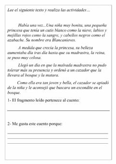 Interactive worksheet Blancanieves y los siete enanitos