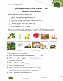 Interactive worksheet Information About Healthy Food