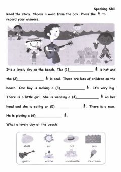 Ficha interactiva WB p113-Read the story. Choose a word from the box. Press the recorders to record your answers.