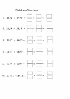 Ficha interactiva Division of like fractions
