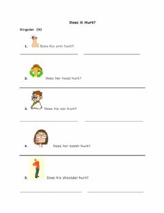 Interactive worksheet What's the matter?  Does it hurt?