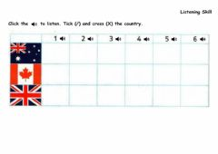 Interactive worksheet Sb P112-Click the speakers to listen. Tick and cross the country.