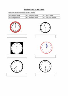 Interactive worksheet Revision topic 1: welcome