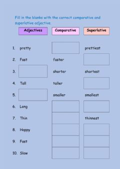 Interactive worksheet Comparative and Superlative form of the adjectives